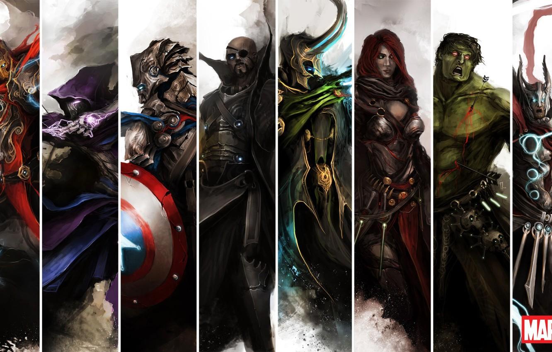Photo wallpaper iron man, Hulk, Thor, captain America, the Avengers, avengers, black widow, Hawkeye, nick fury, Loki