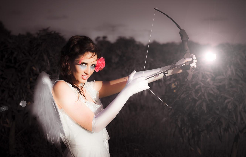 Photo wallpaper sadness, girl, angel, bow, arrow