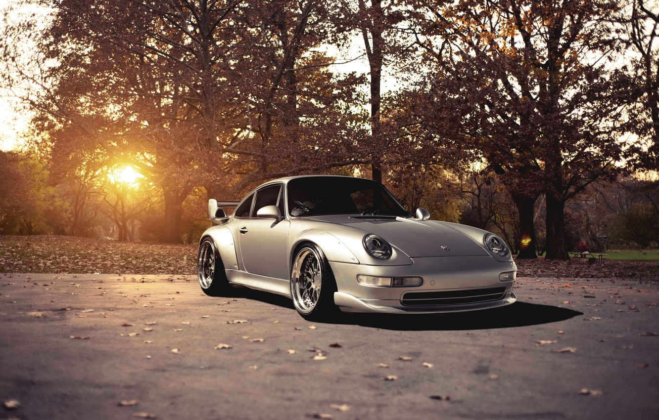 Photo wallpaper the sun, trees, 911, Porsche, silver, Porsche, Blik, GT2, front, silvery, 993