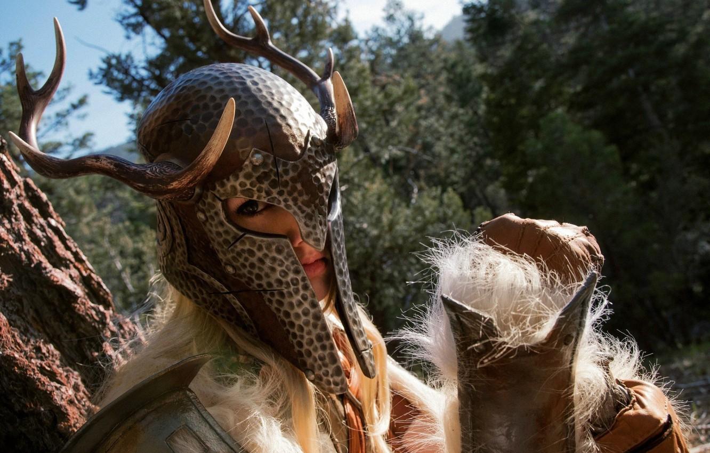 Photo wallpaper girl, warrior, horns, helmet, warrior, women, cosplay, skyrim, cosplay, The Elder Scrolls