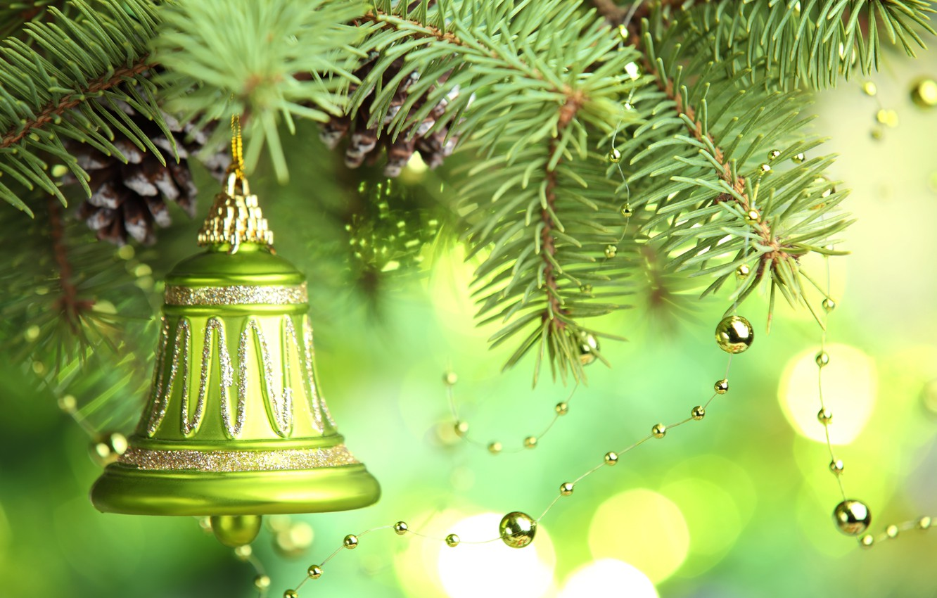 Photo wallpaper decoration, tree, New year, new year, merry christmas, decoration, christmas tree, Merry Christmas, bell, bell
