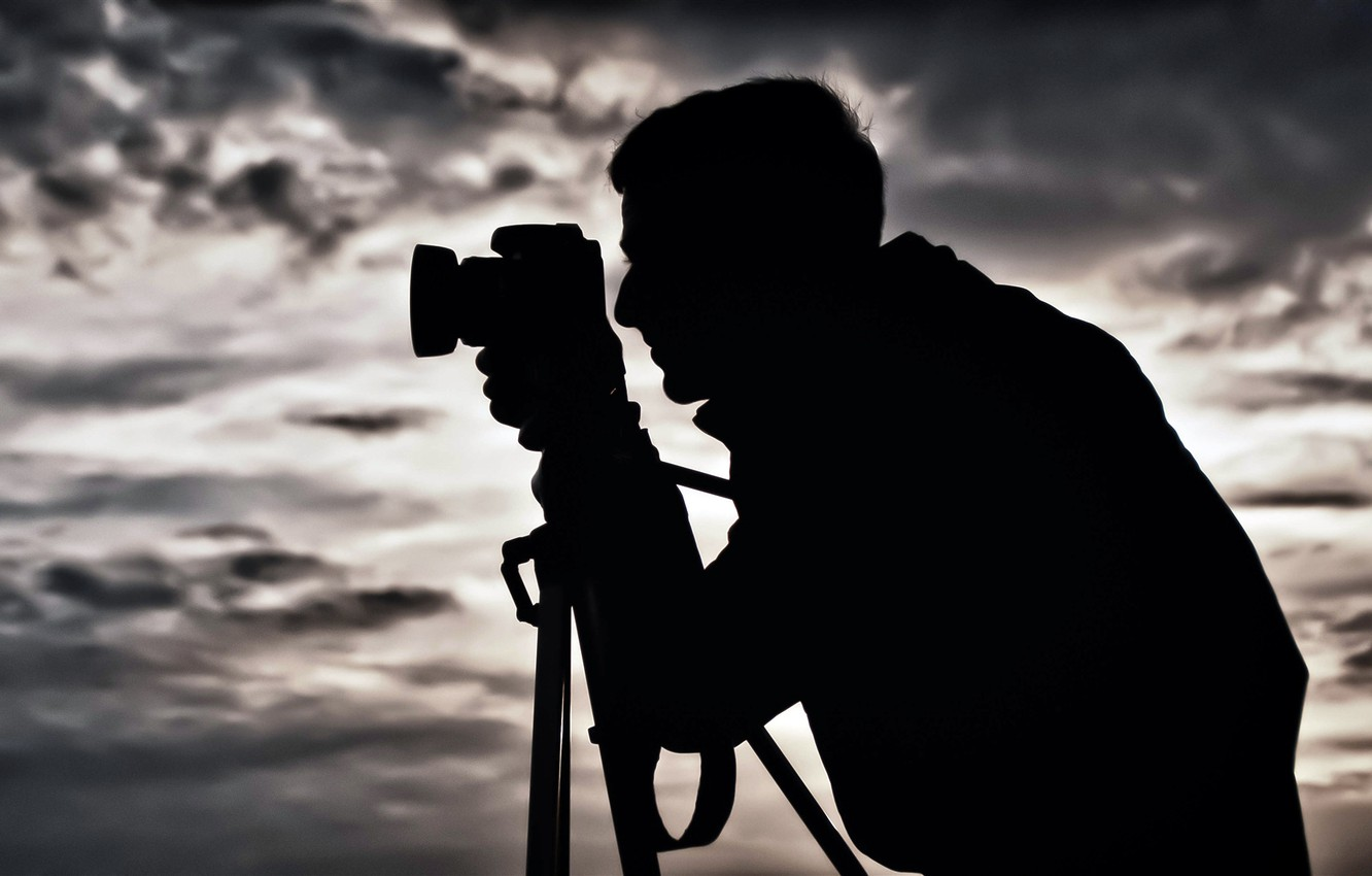 Photo wallpaper BACKGROUND, The SKY, CLOUDS, MALE, The CAMERA, SILHOUETTE, TRIPOD, PHOTOGRAPHER