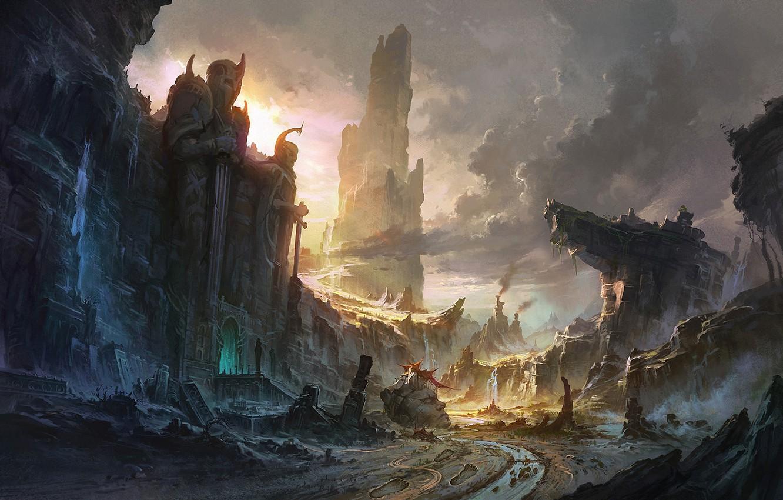 Photo wallpaper clouds, landscape, sunset, mountains, river, sunrise, rocks, waterfall, art, ruins, statues, abandonment, peaks, entrance, gigantic