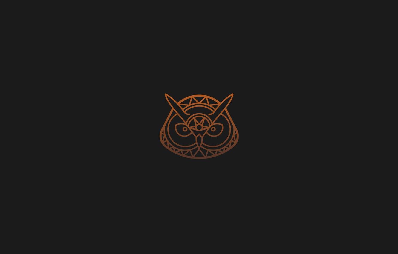 Wallpaper Orange Grey Black Minimalism Owl Tattoo