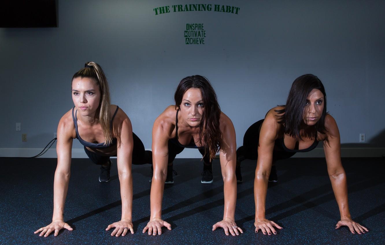 Photo wallpaper fitness, Class, push-ups, women's group