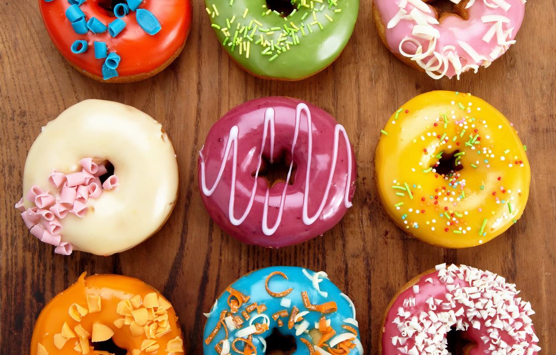 Photo wallpaper colorful, donuts, dessert, cakes, sweet, glaze, dessert, donuts