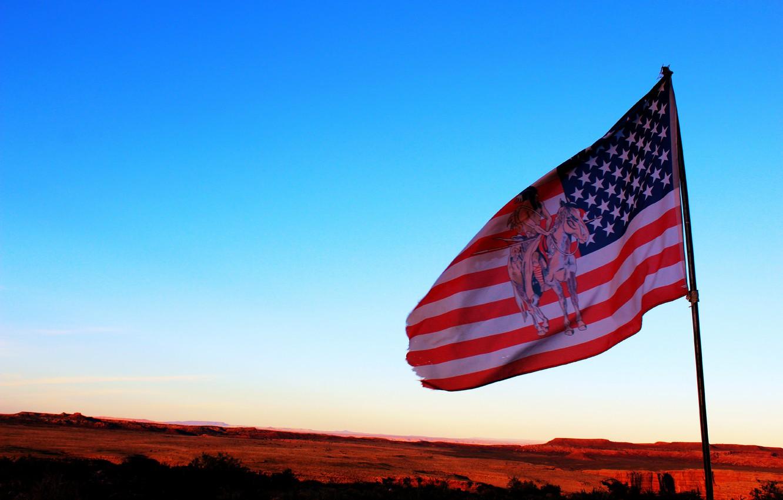 Photo wallpaper the sky, flag, USA, Indian, native