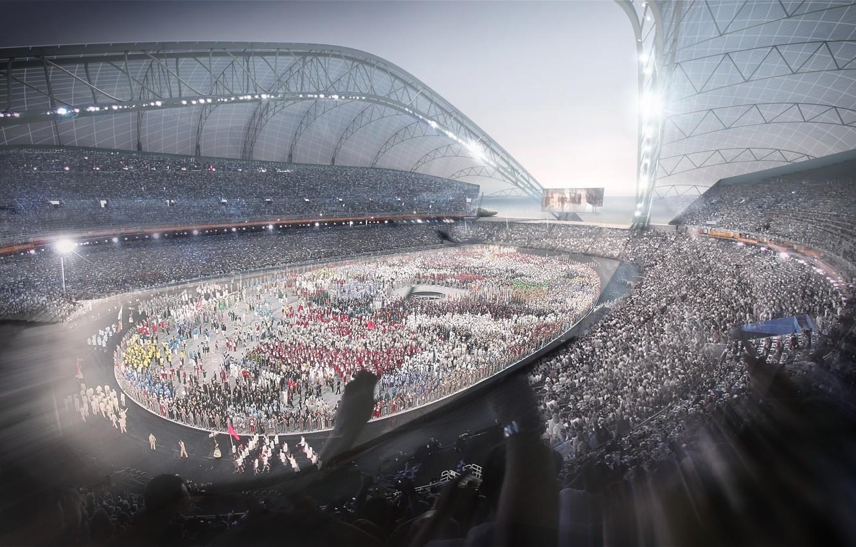Photo wallpaper the audience, international, Olympic stadium