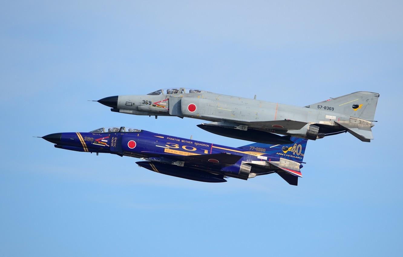 Photo wallpaper fighters, flight, Phantom II, Phantom II, Mitsubishi F-4EJ