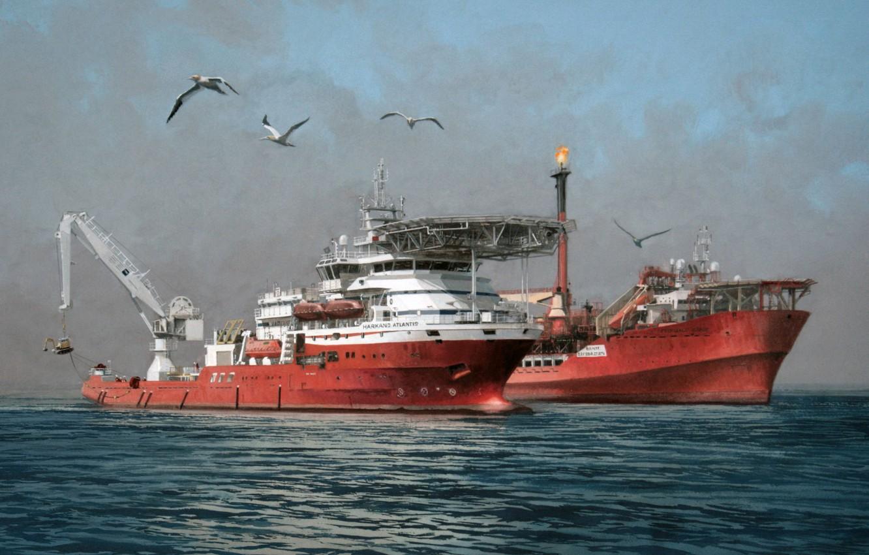 Photo wallpaper sea, the sky, birds, The ship, used by divers, HARKAND ATLANTIS, The ship store, FPSO …