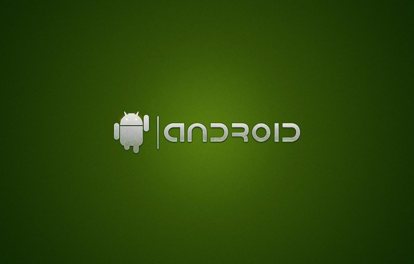 Photo wallpaper green, the inscription, robot, android