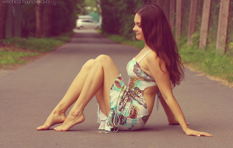 Photo wallpaper girl, sweetheart, hair, barefoot, dress, brunette, beautiful, cutie, long hair, beautiful, barefoot, women, sweet, hair, …