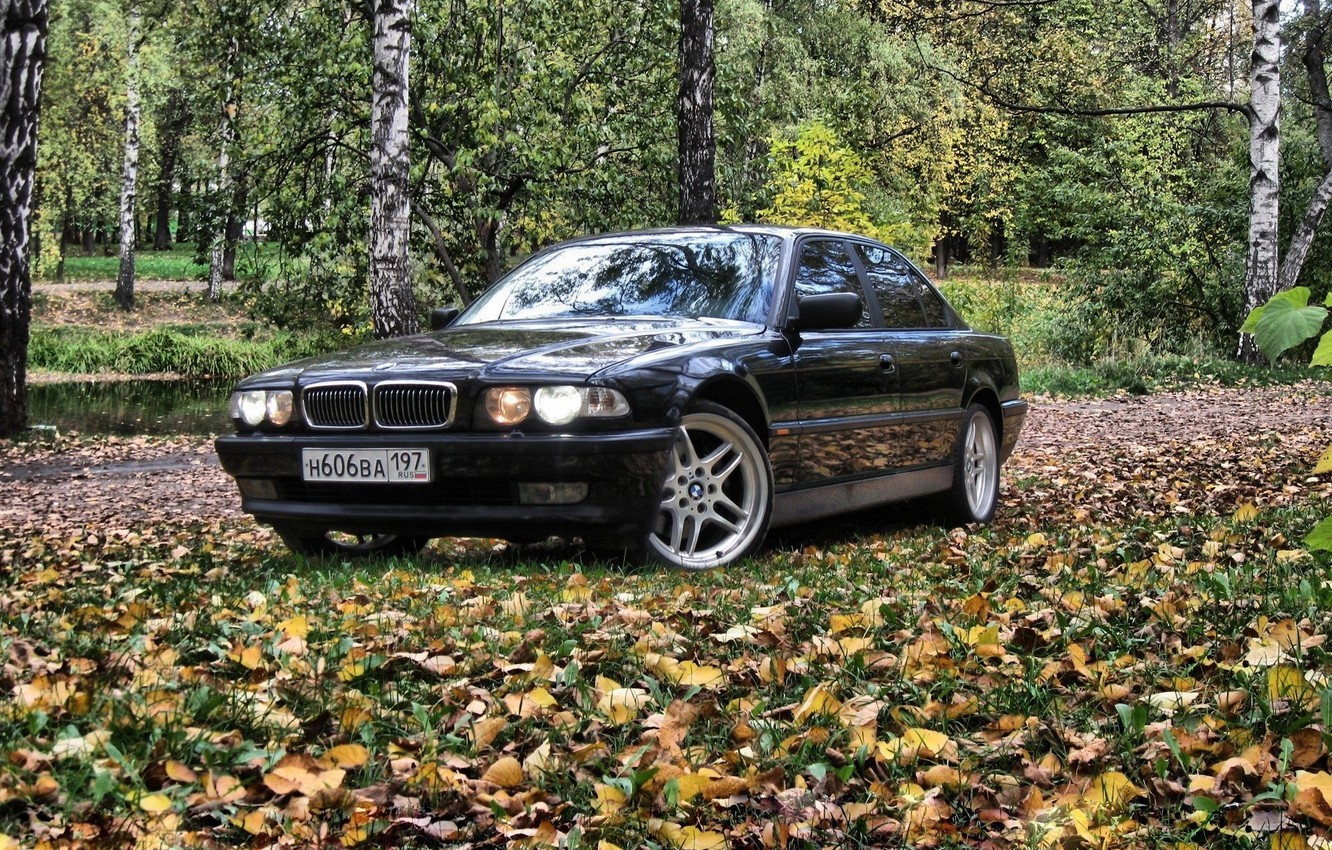 Photo wallpaper autumn, forest, BMW, Boomer, bmw 7, e38