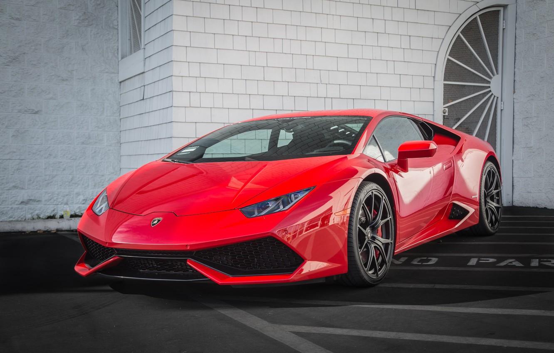 Photo wallpaper Lamborghini, red, Hurricane, no parking