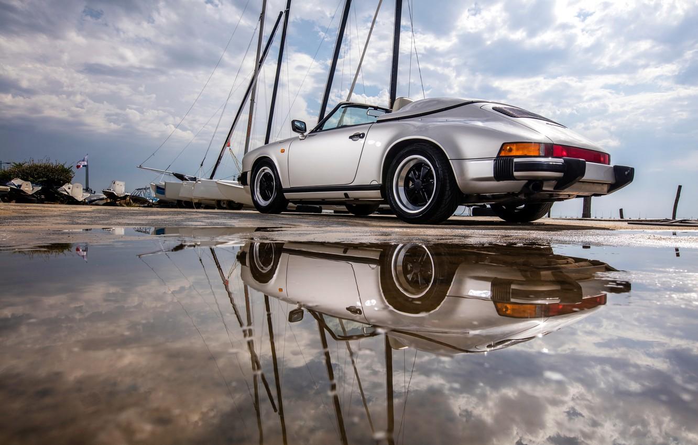 Photo wallpaper car, auto, reflection, 911, Porsche, puddle, Carrera, Speedster