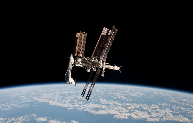 Photo wallpaper space, Earth, Shuttle, docking