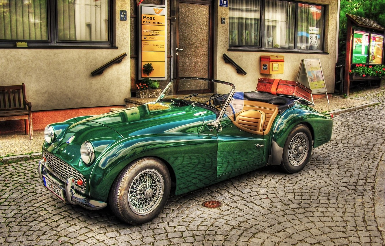 Photo wallpaper car, green, vintage, retro, old, cabriolet, old style, Triumph TR3, old car