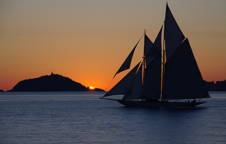 Photo wallpaper sea, sunset, mountain, sailboat, the evening, yacht, yacht, landscape.
