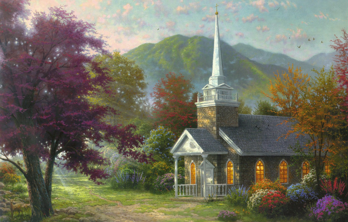 Photo wallpaper trees, flowers, mountains, nature, painting, chapel, the rays of the sun, nature, flowers, Thomas Kinkade, …