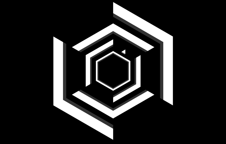 Photo wallpaper Black, White, Minimalism, Super Hexagon