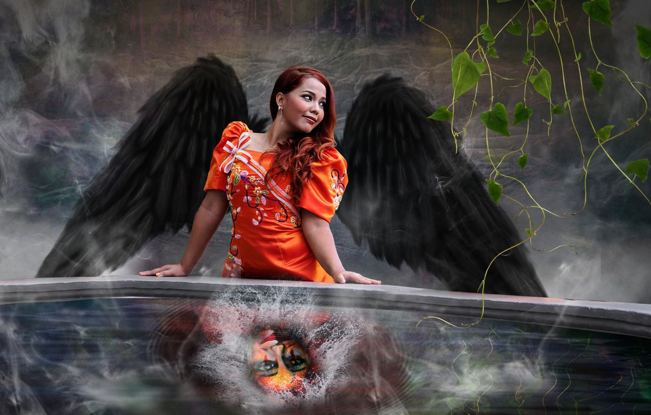 Photo wallpaper GIRL, WATER, WINGS, SQUIRT, FACE, ANGEL