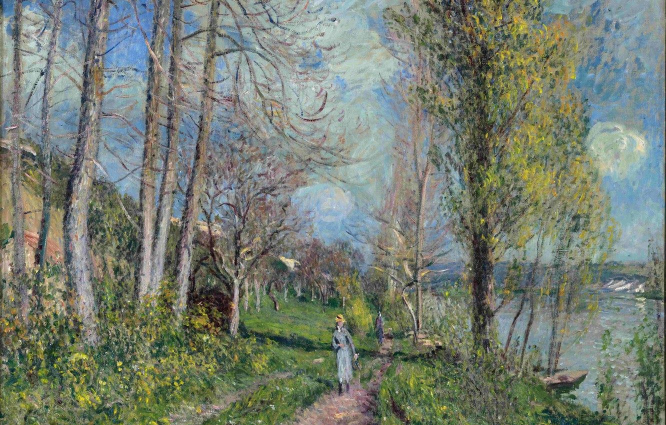 Photo wallpaper the sky, girl, clouds, trees, river, picture, Hay, walk, path, Alfred Sisley