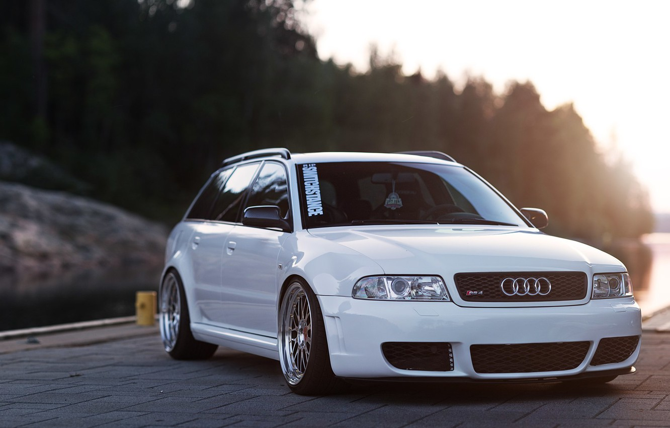Photo wallpaper audi, white, wheels, quattro, tuning, germany, low, stance, rs4