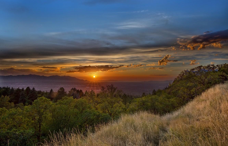 Photo wallpaper sunset, lake, panorama, Utah, Utah, Milkic, Millcreek Township, Mount Olympus Cove
