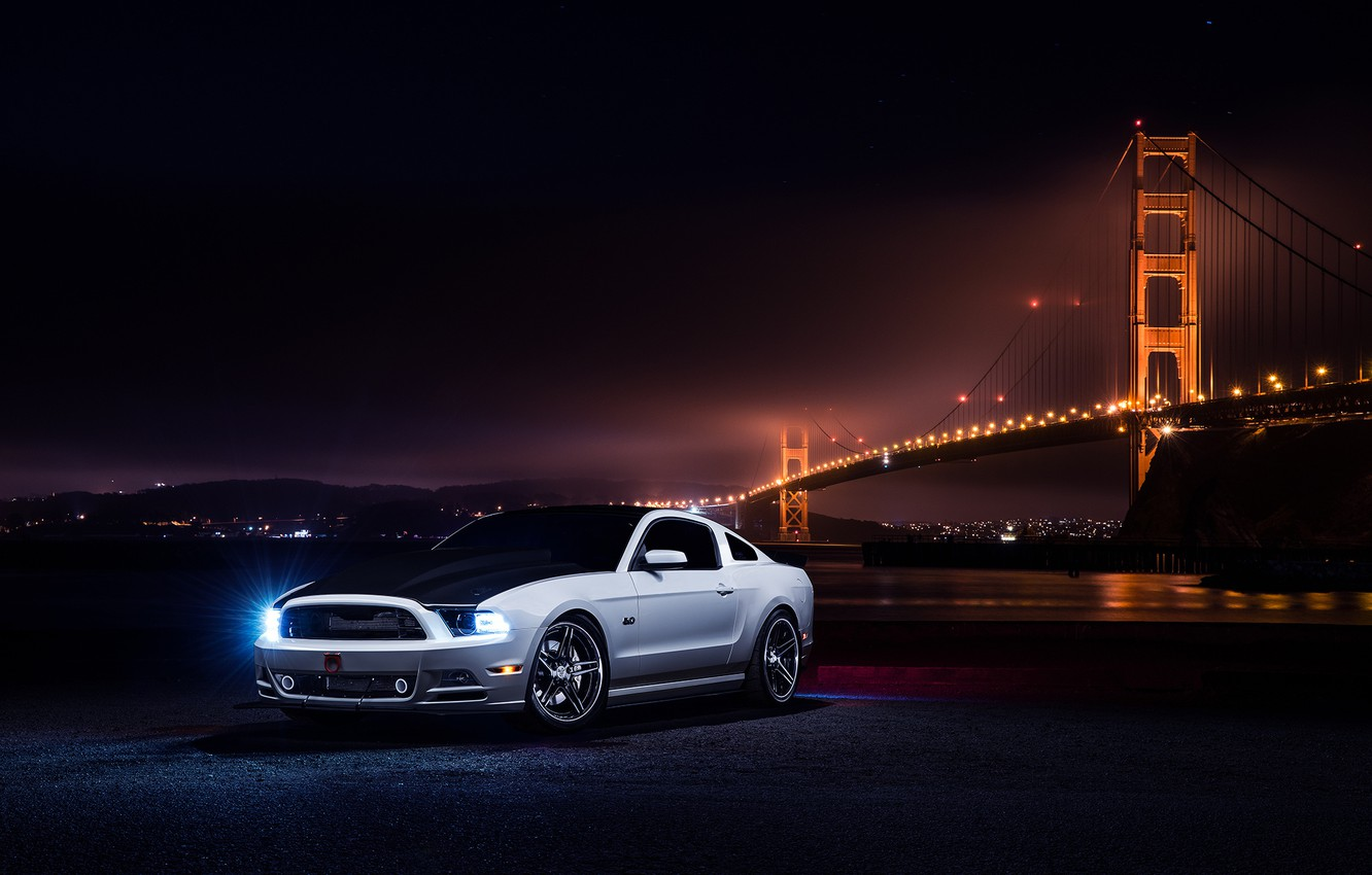 Photo wallpaper Mustang, Ford, Muscle, Car, Front, Bridge, White, Collection, Aristo, Nigth