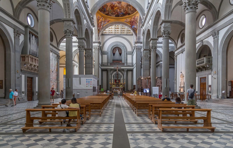 Photo wallpaper Italy, Florence, religion, bench, column, the nave, Basilica of San Lorenzo