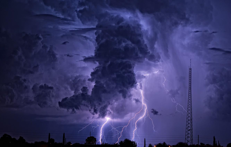 Photo wallpaper the sky, nature, lightning, cloud