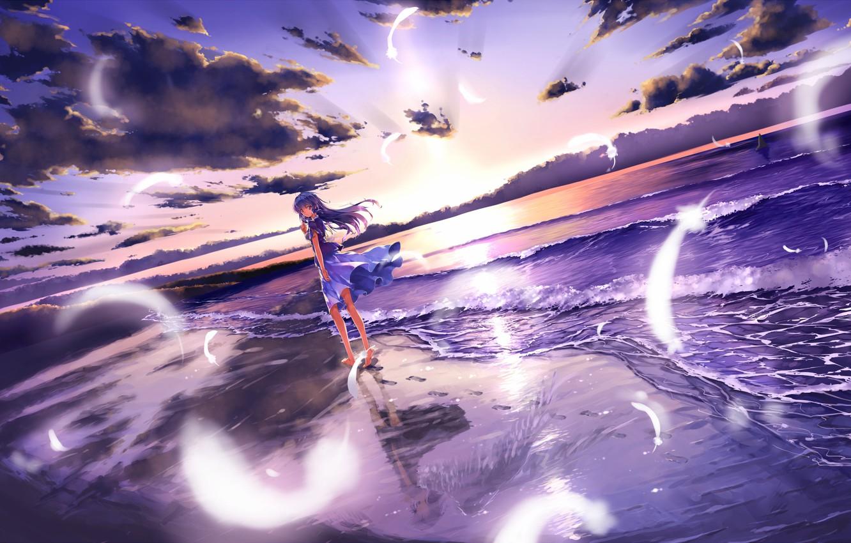 Photo wallpaper sea, beach, girl, sunset, reflection, wings, angel, feathers, dress, art, toshi