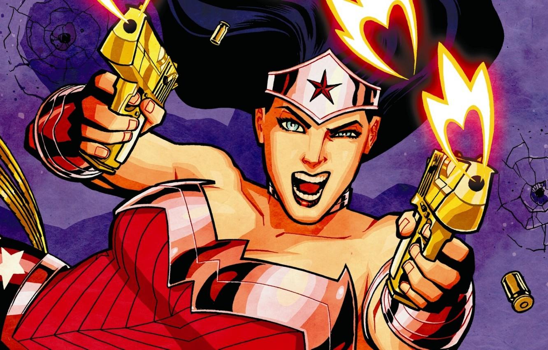 Photo wallpaper fire, guns, fire, guns, gold, Wonder Woman, pistols, comics, gold, art, DC comics, wonder woman, …