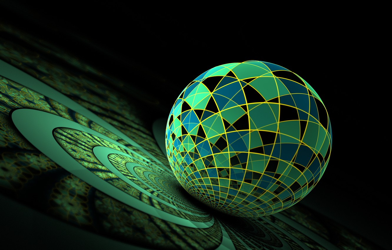 Photo wallpaper surface, blue, abstraction, ball, green, sphere, black background
