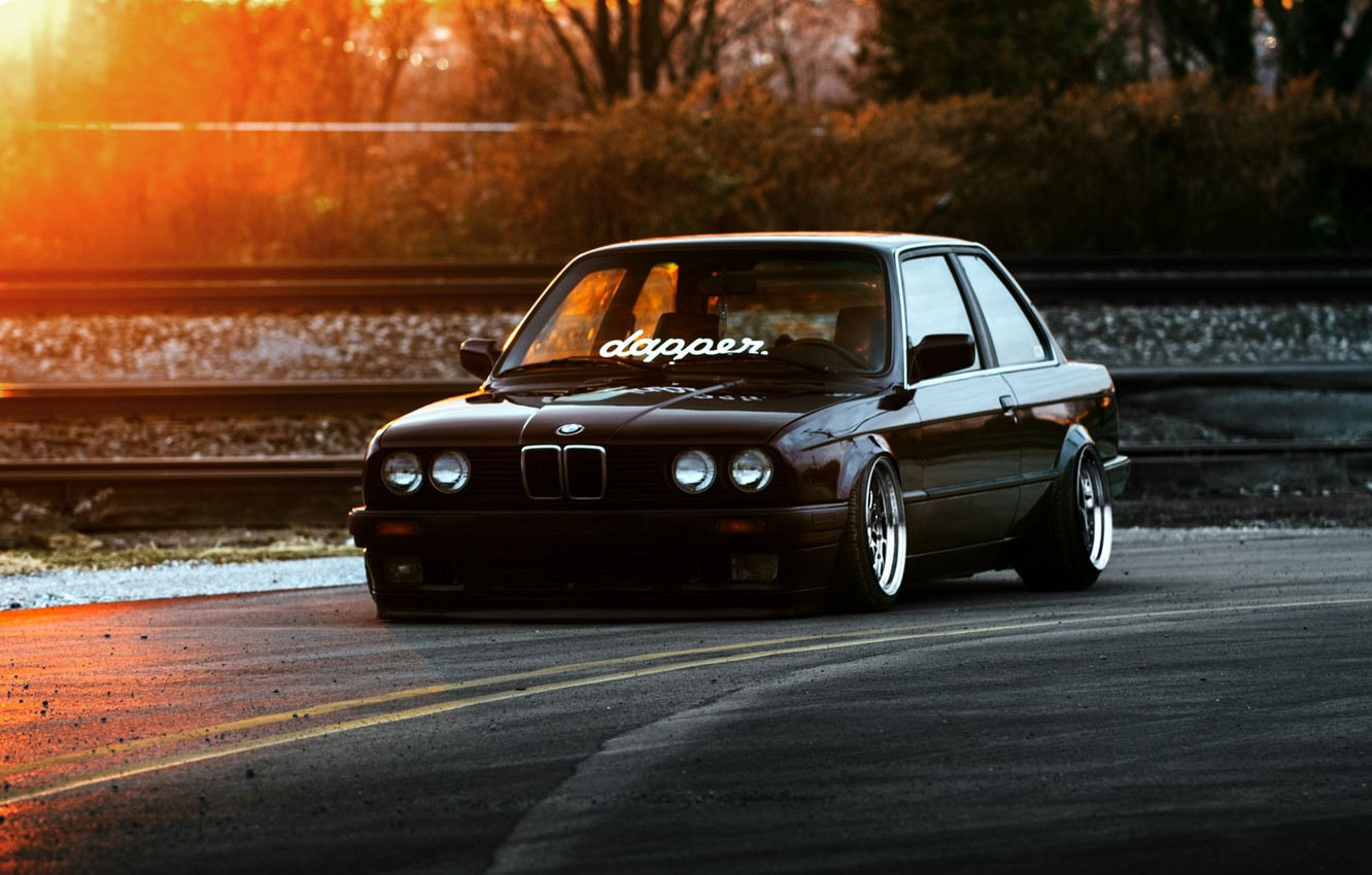 Photo wallpaper BMW, Car, Front, Black, Sun, E30, Stance, Dapper, Ligth