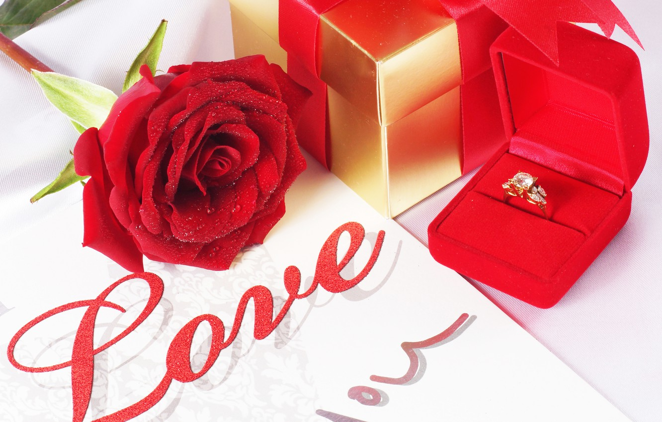 Photo Wallpaper Drops Love Gift Rose Red Wedding Engagement Ring