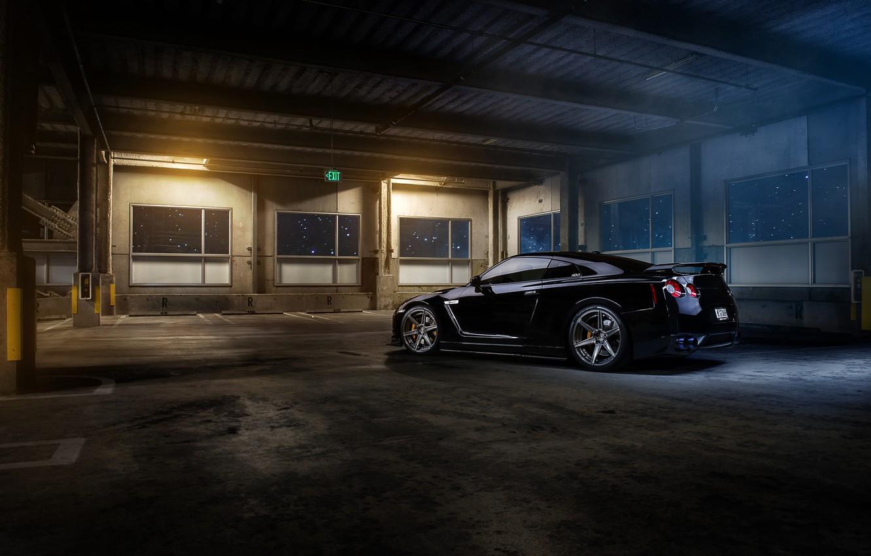 Photo wallpaper Nissan, GT-R, black, parking, garage, r35