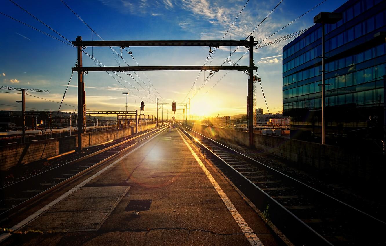Photo wallpaper the city, station, railroad, Blik, the sun