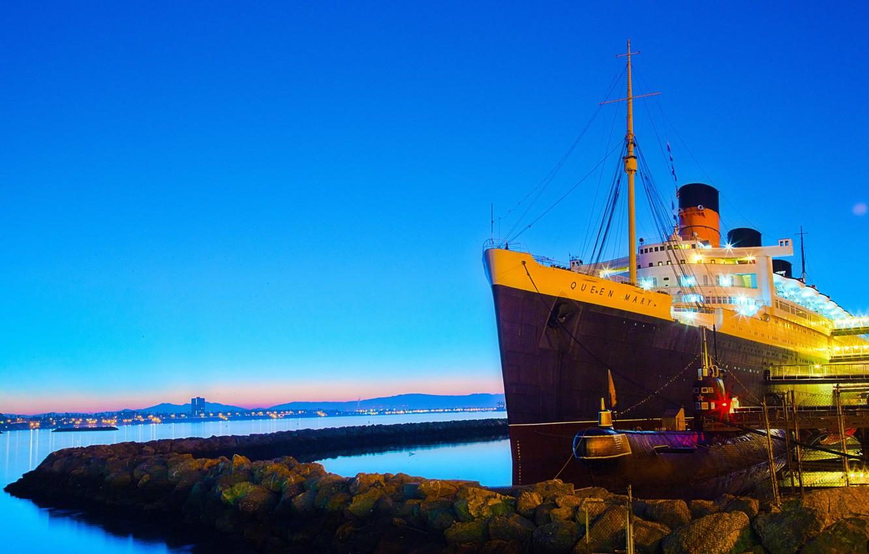 Photo wallpaper sea, the sky, stones, ship, morning, pier, CA, submarine, USA, liner, submarine, Queen Mary, Orange …