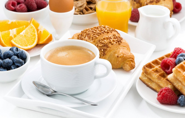 Photo wallpaper berries, raspberry, egg, coffee, orange, Breakfast, juice, waffles, blueberries, croissant