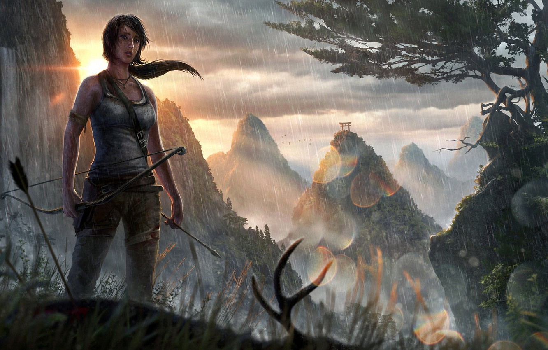 Photo wallpaper girl, the sun, mountains, rain, Asia, waterfall, bow, art, arrow, Tomb Raider, lara croft