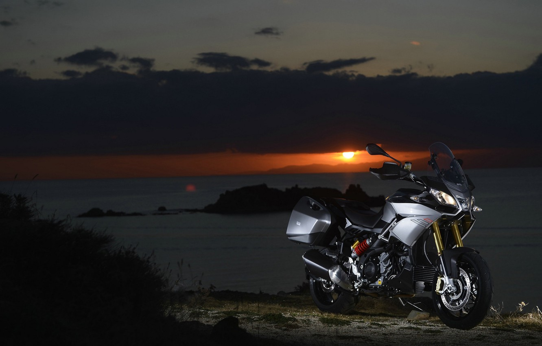 Photo wallpaper sunset, nature, engine, motorcycle, beautiful, Italian, background., electronic, soft, two-cylinder, V-neck, Aprilia, Aprilia Caponord 1200, ...