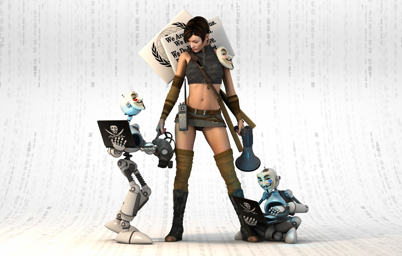 Photo wallpaper look, girl, rendering, robots, vendetta, mask
