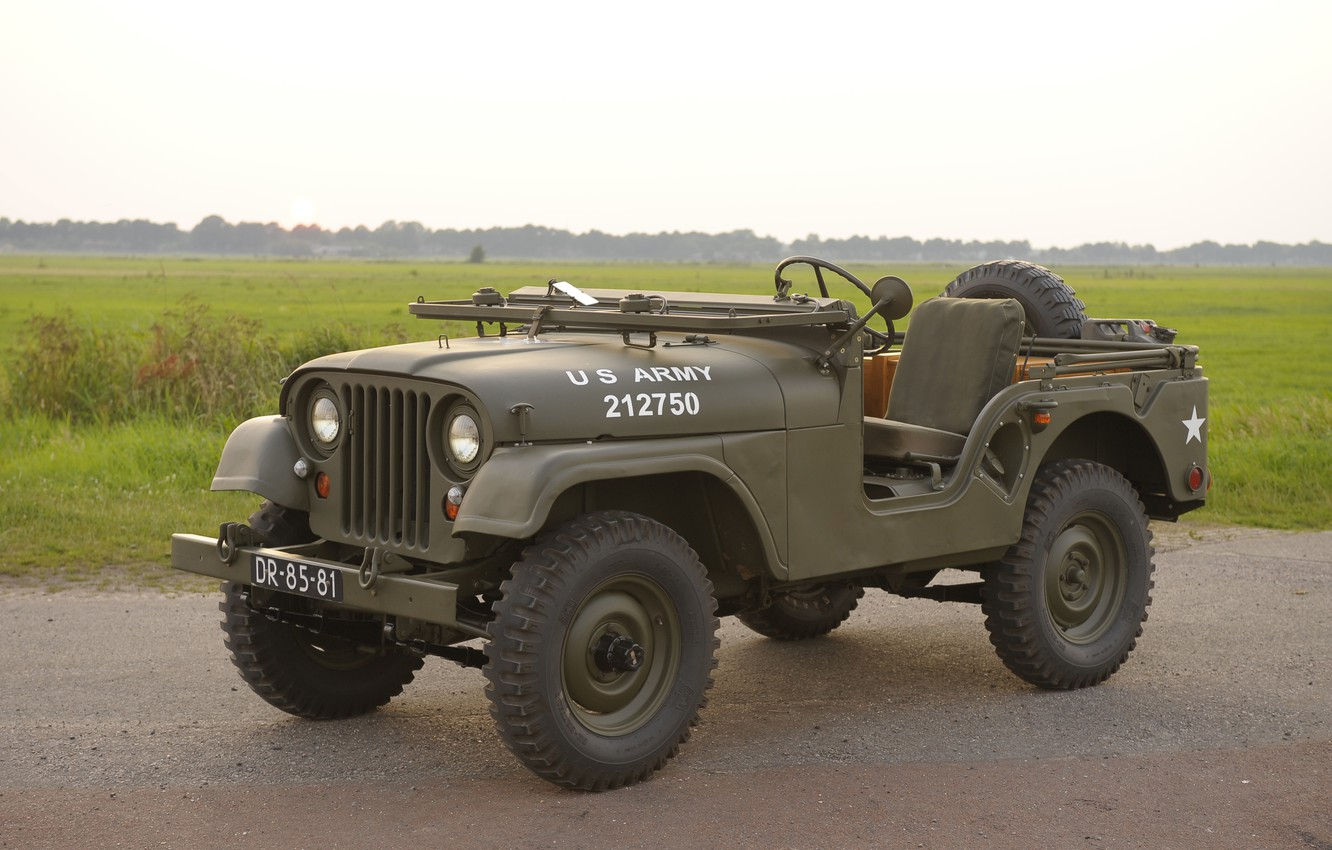 """Photo wallpaper grass, SUV, car, army, 1955, Jeep, high, patency, """"jeep М38А1"""", Willys M38A1"""