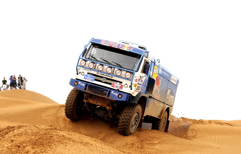 Photo wallpaper sand, people, race, desert, master, dunes, truck, Russia, rally, rally, KAMAZ, kamaz, Dakar, dakar, master