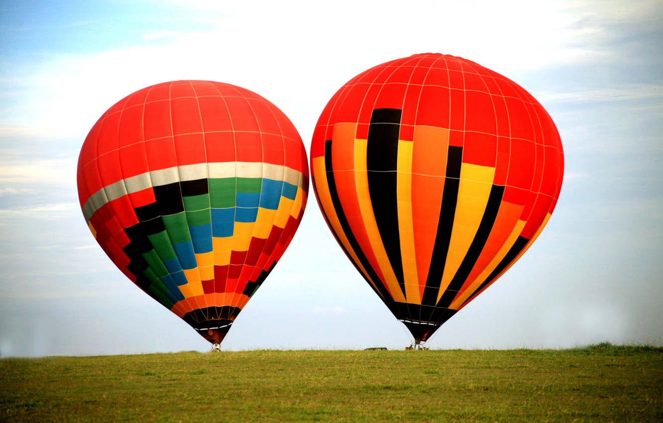 Photo wallpaper field, the sky, grass, balloons, extreme sports