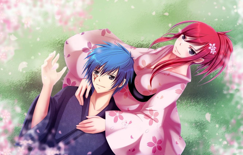 Photo wallpaper girl, nature, anime, petals, Sakura, guy, kimono, Fairy Tail, Jellal Fernandes, Tale of fairy tail, …
