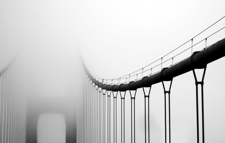 Photo wallpaper bridge, fog, black and white photo, gray tones