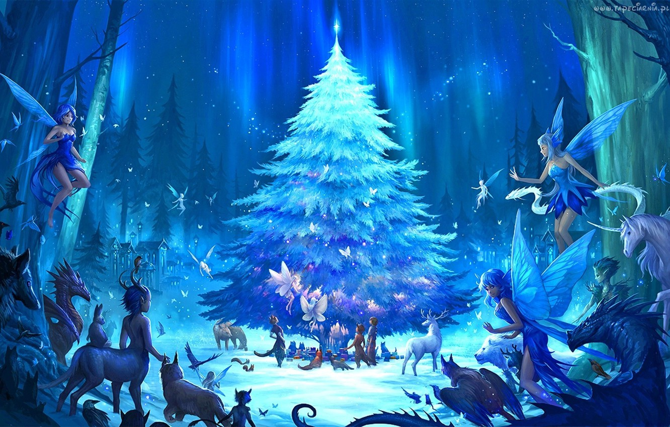 Photo wallpaper forest, fantasy, holiday, anime, art, elves, New year, tree, the edge