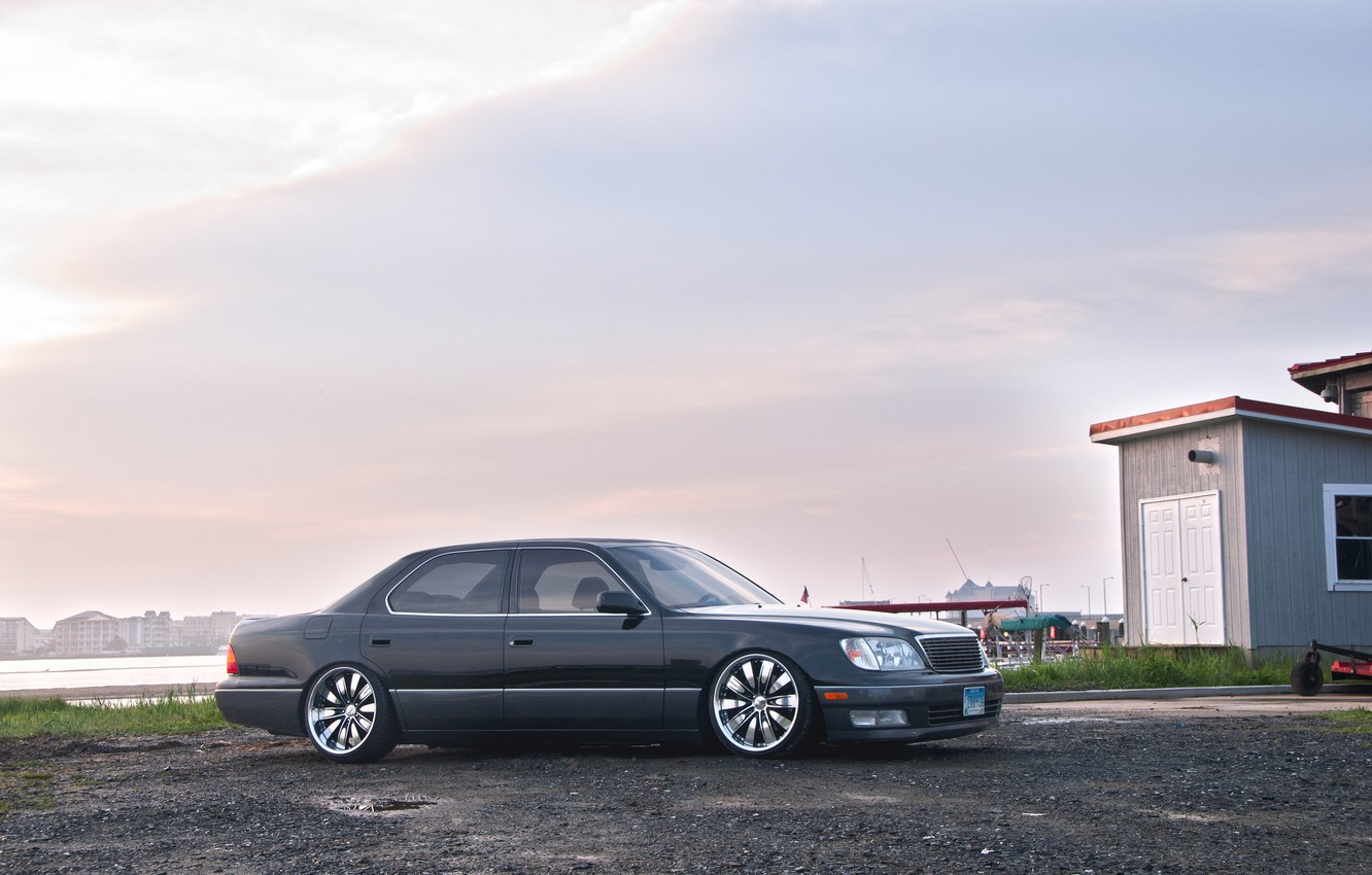 Photo wallpaper clouds, tuning, grey, toyota, Toyota, VIP, celsior